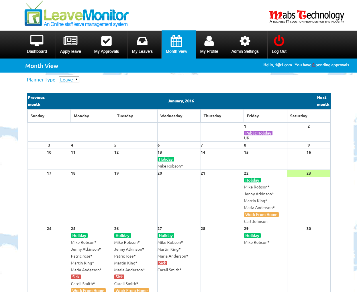 leave monito employee leave planner tour